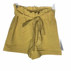 HAVE FASHION yellow paper bag  pull on shorts
